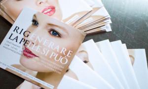 """""""Rigenerare la pelle si può"""". Depliant per trattamenti medici estetici. Progettazione depliant: Officina11 Studio, Comunicazione, Vicenza"""