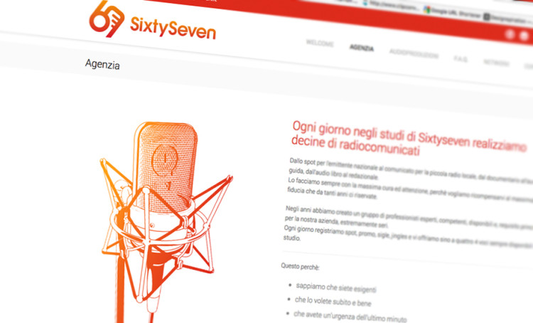 Web design per Sixty Seven.