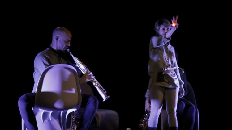 Trailer Strappatempo, Giorgia Antonelli, Titino Carrara, Milano Saxophone Quartet, Spettacolo Teatro, Video Teaser