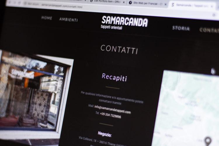 Progettazione web, Samarcanda Tappeti, web design, graphic design